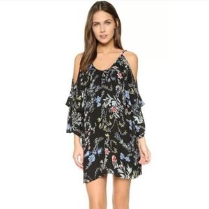 Parker Agave Floral Cold Shoulder Silk Dress